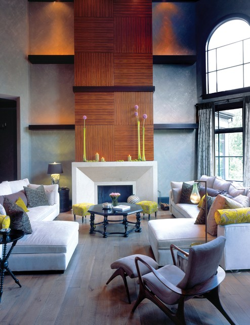 Vladimir Kagan Family Room Contemporary with Arch Window Checkerboard Wall Pattern Contemporary Fireplace Cool Side