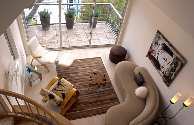 Vladimir Kagan Living Room Contemporary with Area Rug Balcony Container Plants Curved Sofa Glass Coffee