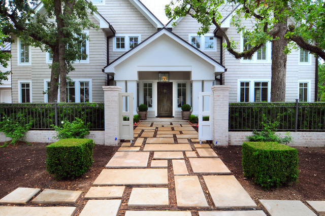Walkway pavers Exterior Transitional with brick chandelier