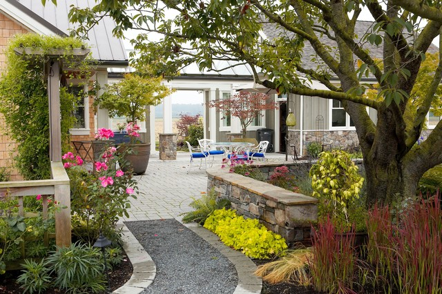 Walkway Pavers Patio Farmhouse with Arbor Blue Chair Cushions Breezeway Container Plants Courtyard Garden