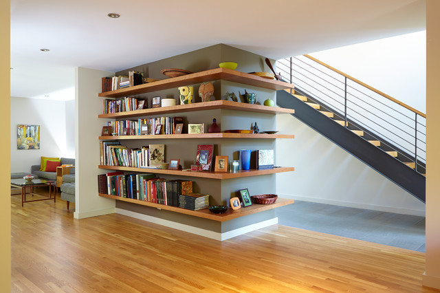 Wall Mount Bookshelf Staircase Contemporary with Bookcase Bookshelves Brown Accent Wall Floating Shelves Glass Coffee