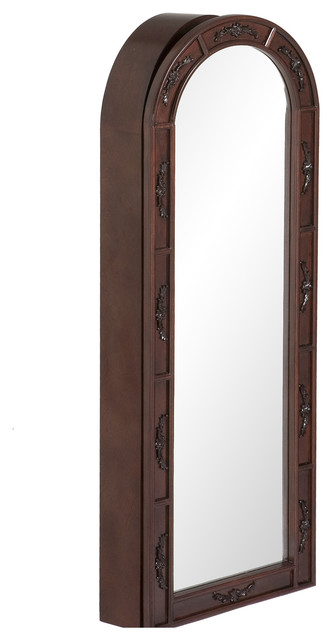 Wall Mount Jewelry Armoire with Arched Jewelry Mirror Bedroom Furniture Carved Jewelry Armoire Cherry
