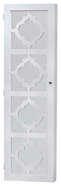 Wall Mount Jewelry Armoire with Box Boxes Door Hook Jewelry Mirrored Organizer Safe Slot
