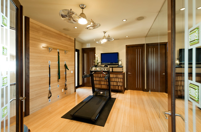 Wall Mount Oscillating Fan Home Gym Contemporary with Brown Doors Ceiling Fan Earth Tones Exercise Room Hardwood