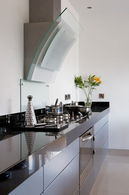 Wall Mount Oscillating Fan Kitchen Contemporary with Black Counter Cheese Grater Gray Cabinets Range Hood Stainless