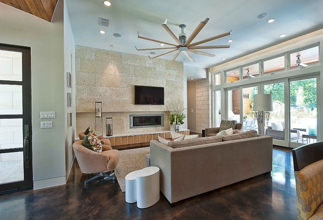Wall Mount Oscillating Fan Living Room Contemporary with Area Rug Awning Windows Ceiling Fan Ceiling Lighting Concrete