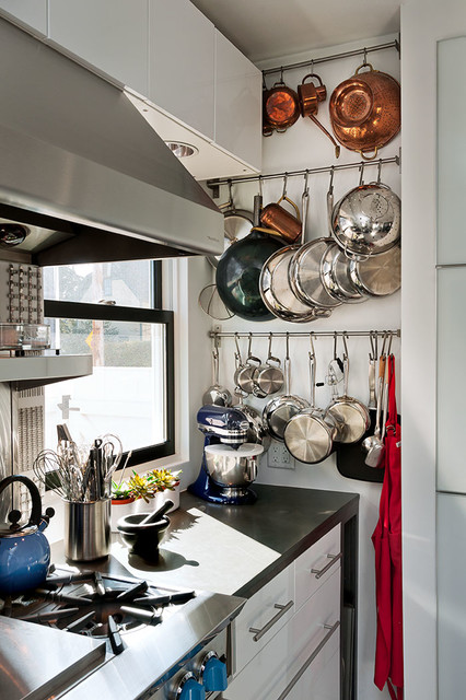 wall mount pot rack Kitchen Contemporary with bar pulls black counter black windows blue kitchen aid