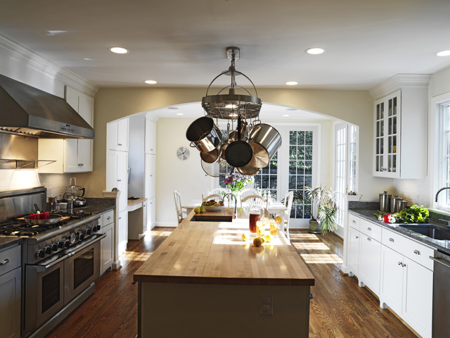 Wall Mount Pot Rack Kitchen Traditional with Butcher Block Countertops Ceiling Lighting Crown Molding Eat In