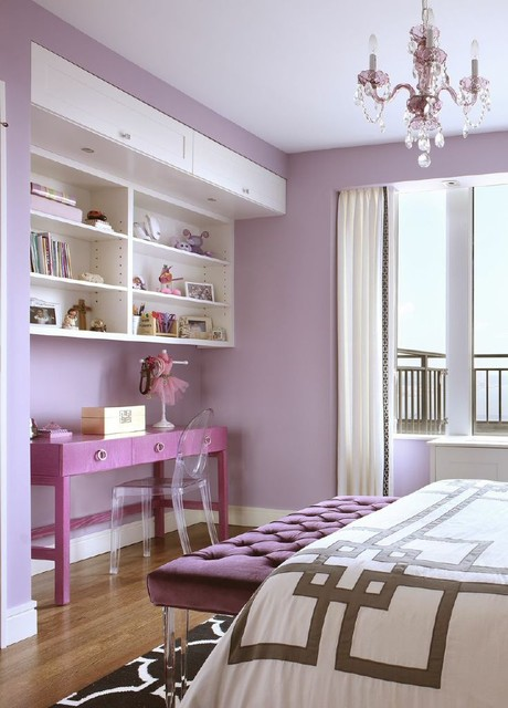 Wall Mounted Bookcase Bedroom Transitional with Clear Ghost Chair Contemporary Bedroom Contemporary Design Feminine Geometric