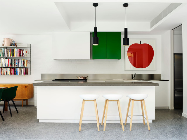 Wall Mounted Bookcase Kitchen Contemporary with Apple Apple Picture Black Pendant Lights Contemporary Artwork Contemporary