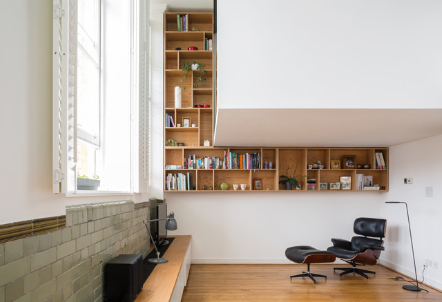 Wall Mounted Bookcase Living Room Contemporary with Display Unit Eames Chair Eames Lounger Historic Joinery Listed