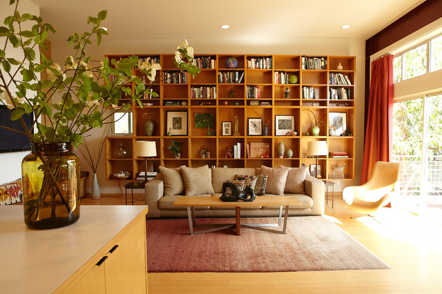 Wall Mounted Bookcase Living Room Midcentury with Beige Countertop Beige Sofa Beige Throw Pillow Bookcase Wall