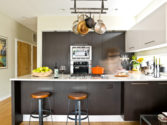Wall Mounted Pot Rack Kitchen Contemporary with Beige Wall Cooktop Dark Wood Cabinets Dark Wood Drawers