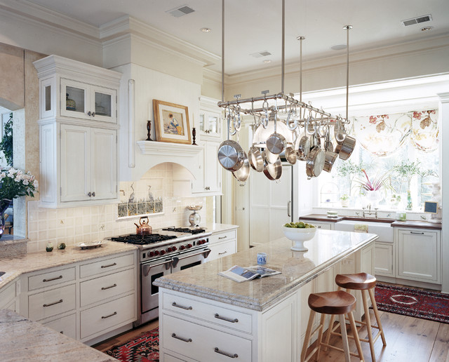 Wall Mounted Pot Rack Kitchen Traditional with Decorative Tile Backsplash Farmhouse Sink Glass Front Cabinets Kitchen