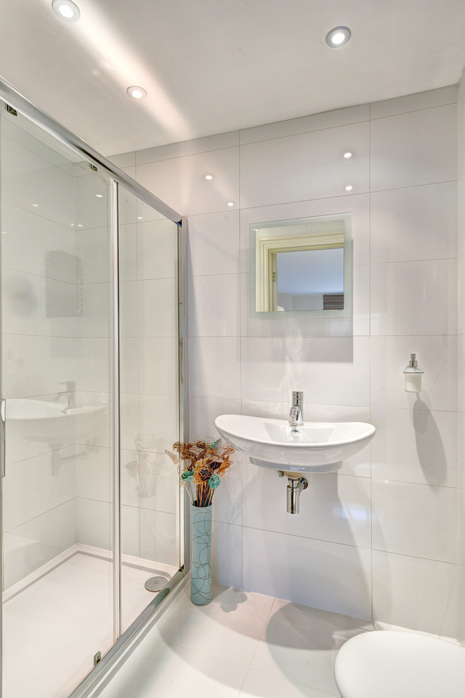 Wall Mounted Soap Dispenser Bathroom  Contemporary With Ceiling Spots Cubicle Framed Shower Door Glass