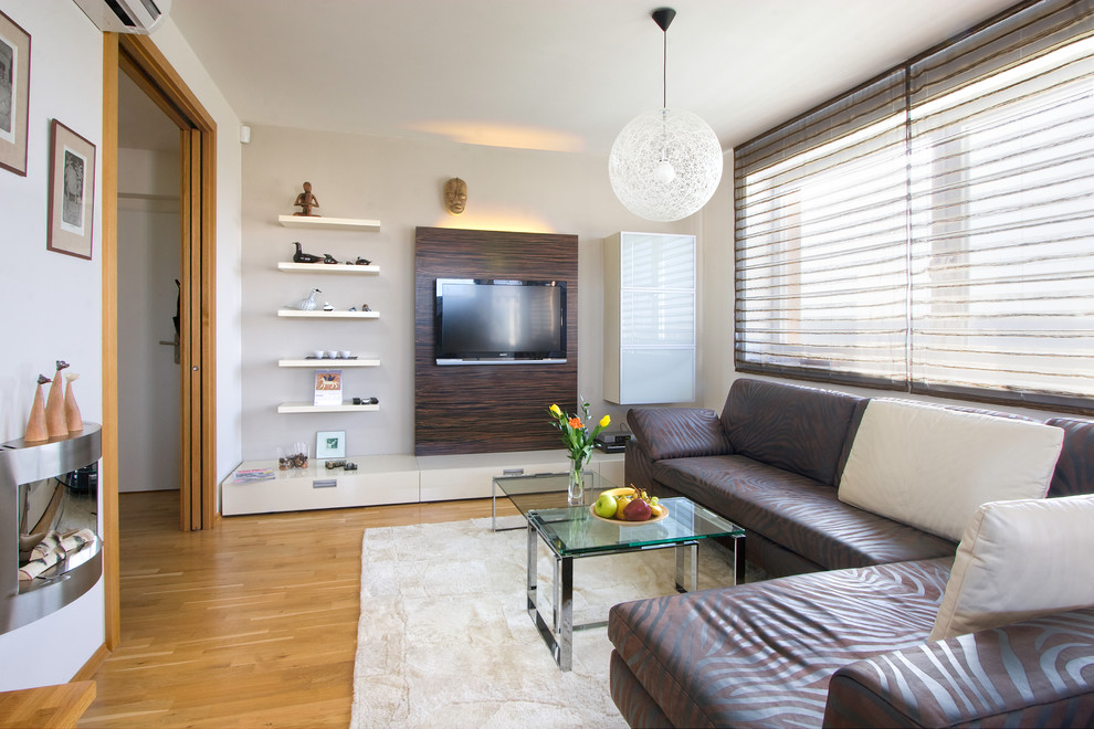 Wall Mounted Tv Cabinet Family Room Traditional With Brown Leather Sofa Built Ins Dark Wood