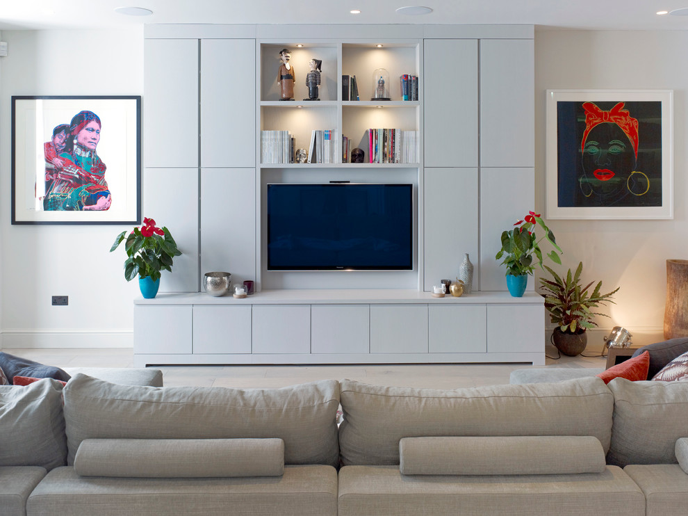 Wall Mounted Tv Cabinet Living Room Contemporary with Concrete Contemporary Art Gray Couch Joinery Kitchen