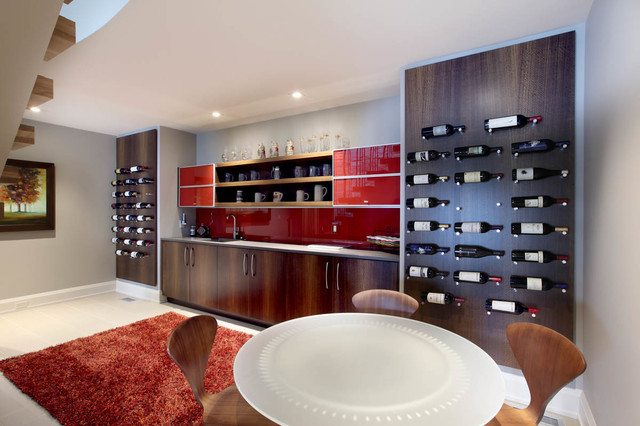 Wall Mounted Wine Rack Home Bar Contemporary With Artwork Cabinetry  Contemporary Home Office Modern Recessed Lights Red