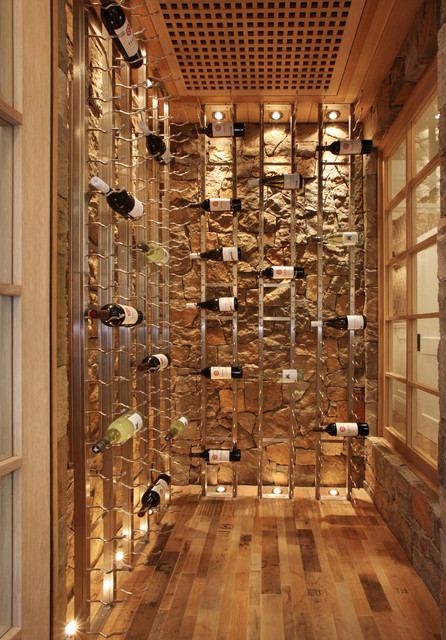 Wall Mounted Wine Rack Wine Cellar Beach with Built in Storage Rustic Stone Wall Up Lighting Vertical