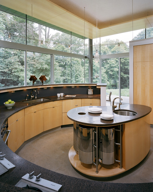 Walmart Garbage Cans Kitchen Contemporary with Black Countertop Curved Cabinets Curved Island Floor to Ceiling