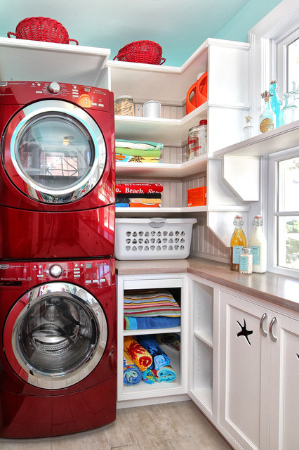 Washer and Dryer Stackable Laundry Room Traditional with Beach House Beadboard Built in Shelves Front Loading Washer And