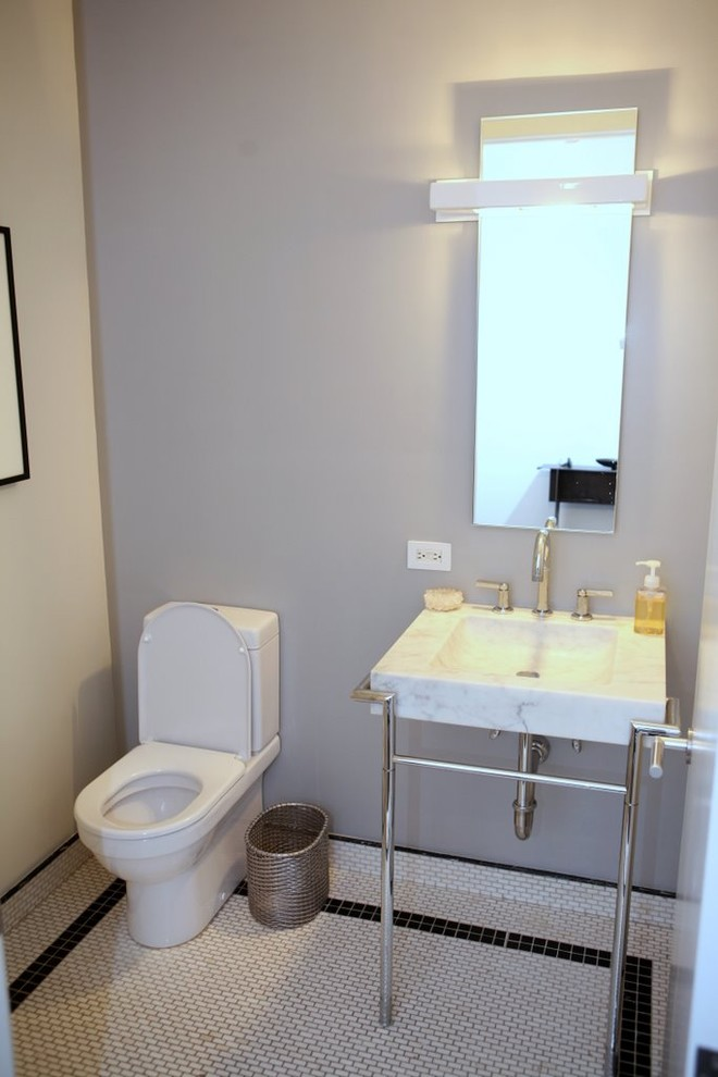 Wastebasket Bathroom Contemporary with Accent Tile Black and White Marble Sink