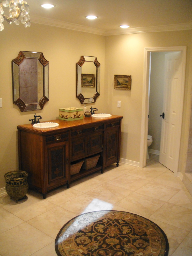 Wastebasket Bathroom Traditional with Beige Wall Beveled Mirror Ceiling Lighting Custom