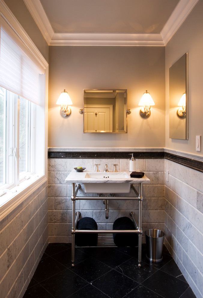 Wastebasket Bathroom Traditional with Black Floor Chrome Console Crown Molding Gray
