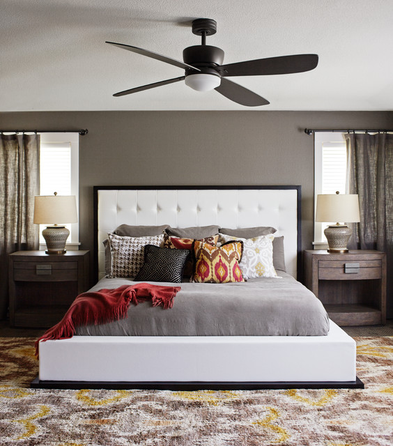 Waterbed Frames Bedroom Transitional with Ceiling Fan Colorful Throw Pillow Dark Wood Nightstand Decorative