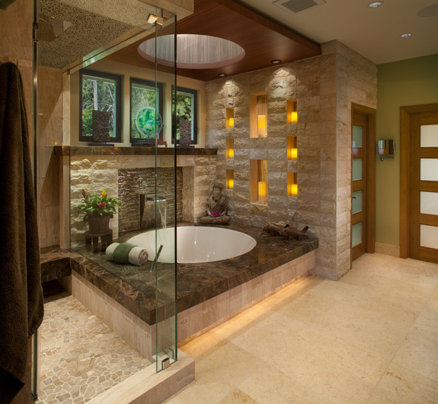 Waterfall Bathroom Faucet Bathroom Asian with Contemporary Cove Lighting Cutout Earth Tones Frosted Glass Door