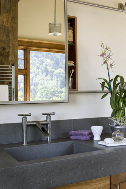 Waterfall Bathroom Faucet Bathroom Contemporary with Clean Lines Gray Counters Minimal Mirror Natural Wood Pendant