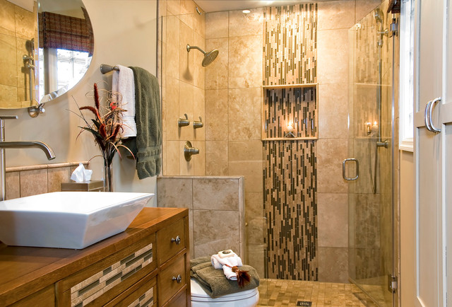 Waterfall Bathroom Faucet Bathroom  Traditional With Beige Mosaic Tile Shower Trim Beige Stone Shower Wall