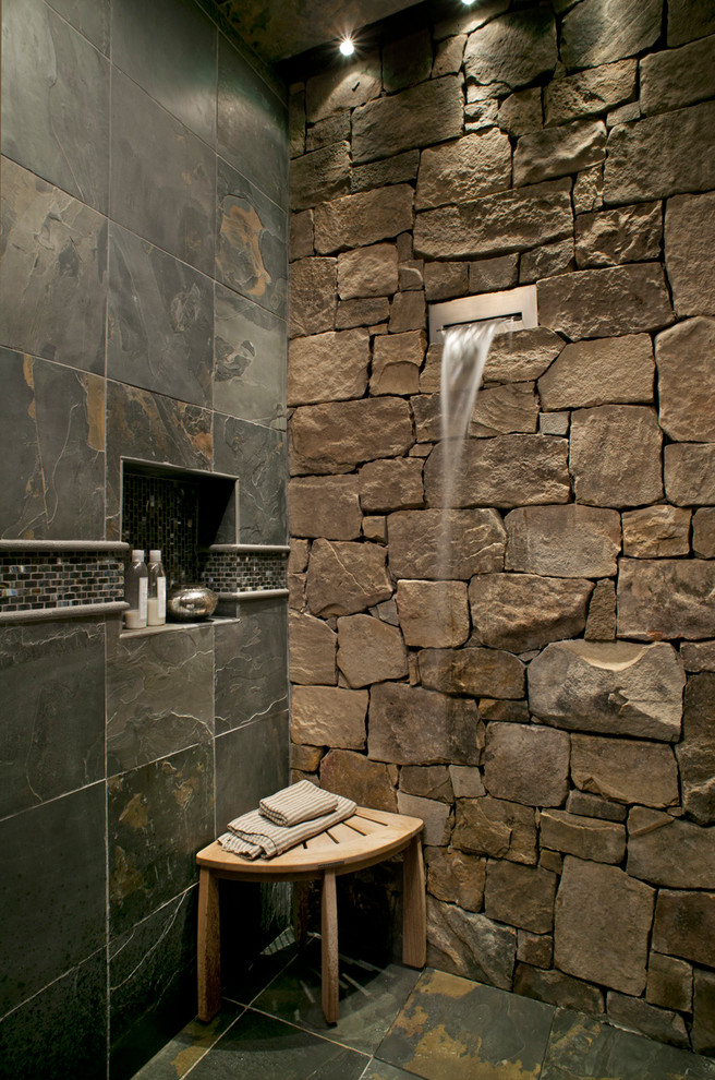 Waterfall Faucets Bathroom Rustic with Corner Bench Fountain Mosaic Tile Niche Rough