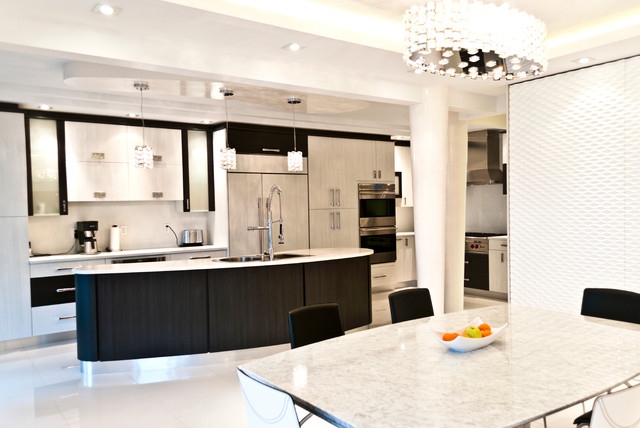 Waterford Crystal Bowl Kitchen Contemporary with Accent Wall Beige Cabinet Beige Drawer Black and White