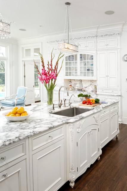 Waterford Crystal Bowl Kitchen Traditional with Carved Wood Chandelier Crown Molding Dark Stained Wood Floor