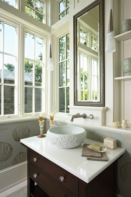 waterford crystal bowl Powder Room Traditional with baseboards bathroom lighting corner windows crystal knobs divided lights