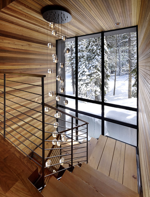 Waterford Crystal Bowl Staircase Rustic with Banister Cabin Chandelier Handrail Metal Railing Minimal Modern Light