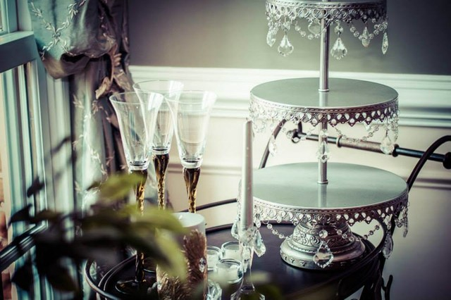 Waterford Crystal Champagne Flutes Dining Room Transitional with Bar Casual Elegance Custom Made Dining Room Accessories Drink Cart