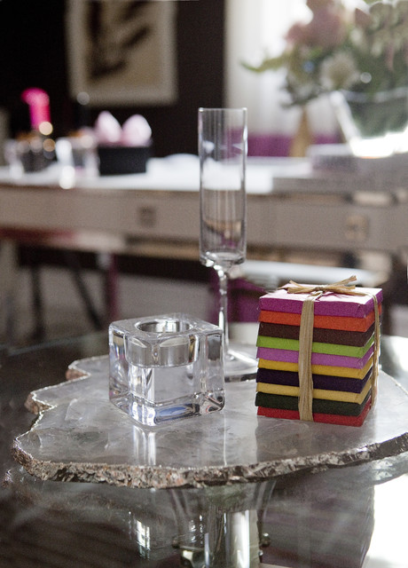 Waterford Crystal Champagne Flutes Home Office Transitional with Brown Candle Chocolate Detail Shot Glass Karl Lagerfeld Champagne