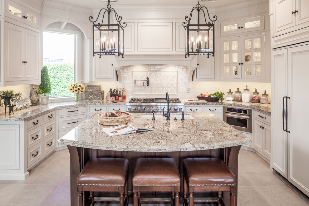 Waterstone Faucets Kitchen Traditional with Curved Countertop Integrated Fridge Kitchen Island Lanterns