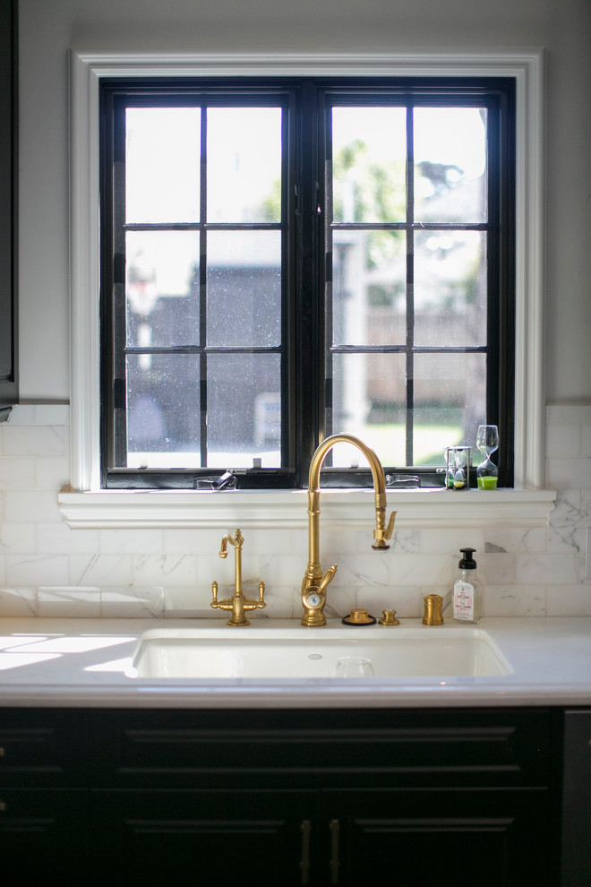 Waterstone Faucets Kitchen Transitional with Black Cabinets Gold Hardware Kitchen