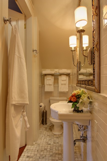 Weatherproof Electrical Box Bathroom Traditional with Classic Cream Framed Mirror Marble Marble Mosaic Floor Pedastal