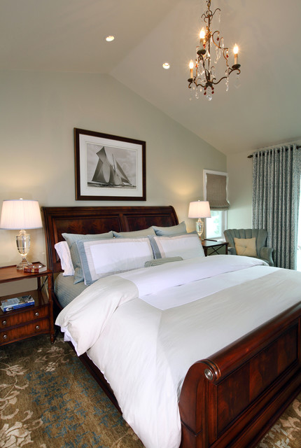 Wesley Allen Beds Bedroom Traditional with Area Rug Bedside Table Cathedral Ceiling Ceiling Lighting Chandelier