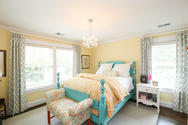 Wesley Allen Beds Bedroom Traditional with Double Hung Windows Turquoise Bed Yellow Bedspread
