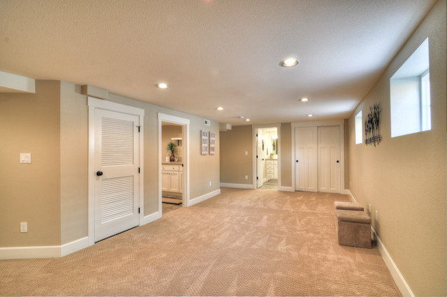 Weslock Basement Traditional with Basement Custom Millwork Family Room Neutral Wall Color New
