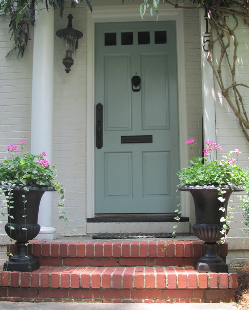 weslock Entry Traditional with blue front door clematis vine entrance front doors geraniums
