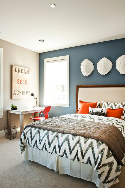West Elm Pillows Bedroom Contemporary with Blue Accent Wall Carpet Chevron Print Ikat Comforter Wall