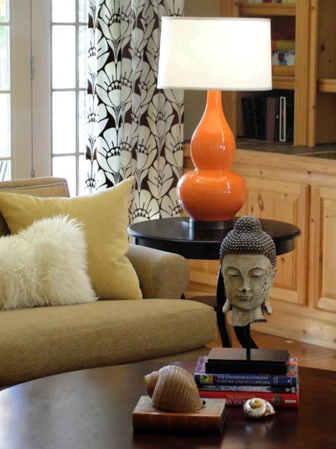 west elm pillows Family Room Eclectic with accent color buddha statue curtains decorative pillows drapes end