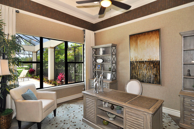 Wfc7500vw Home Office Traditional with Beige Armchair Beige Curtain Beige Desk Chair Beige Grasscloth