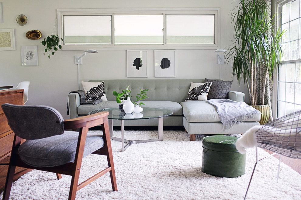 White Shag Rug Family Room Midcentury with Bertoia Chair Black and White Pillows Button